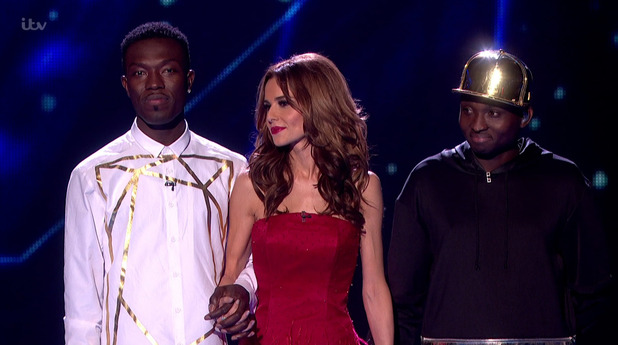 Reggie 'N' Bollie await the result of the public vote on the results show for the final of 'The X Factor. 13 December 2015.