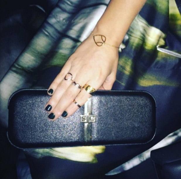 Laura Whitmore shows off her Nails Inc Nail Kale manicure, while wearing Maria Grachvogel at National Television Awards, 20 January 2016