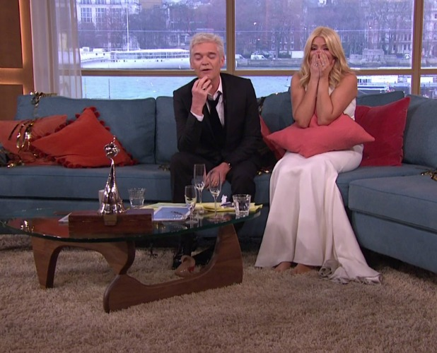 Phillip Schofield and Holly Willoughby presenting 'This Morning' in their outfits from the previous night's National Television Awards. Broadcast on ITV1 HD. 21 January 2016