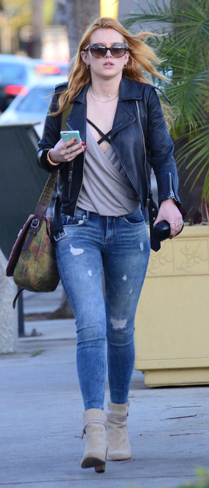 Bella Thorne out and about in Los Angeles, flaunting her much lighter hair, 27th January 2016