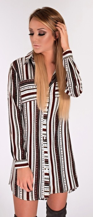 Geordie Shore's Charlotte Crosby models new Nostalgia range with In The Style, wearing striped shirt dress, 28th January 2016