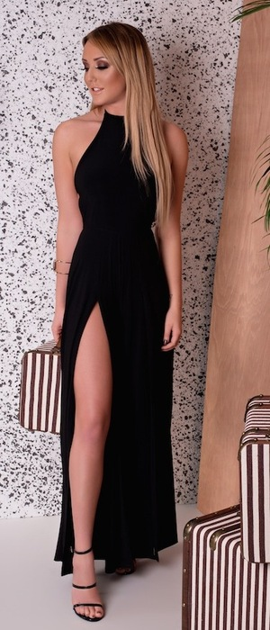 Geordie Shore's Charlotte Crosby models new Nostalgia range with In The Style, black dress with side split, 28th January 2016
