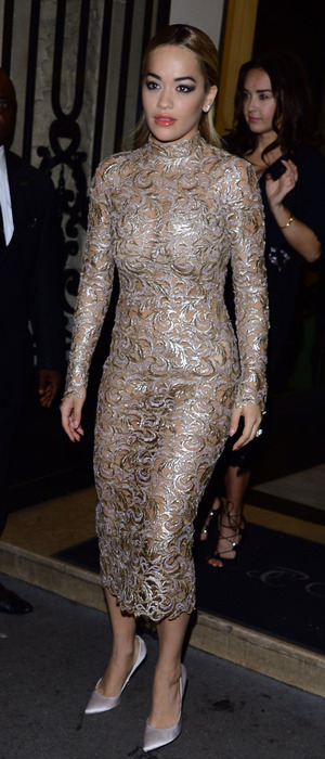 Rita Ora Dons Near Transparent Dress To The Paris Fashion