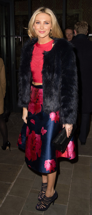 Made In Chelsea star Stephanie Pratt at the Concussion film premiere in London, wearing AX Paris skirt 29th January 2016