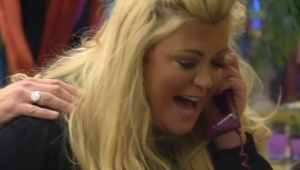 CBB: Day 24: Gemma Collins in phone task. 28 January 2016.