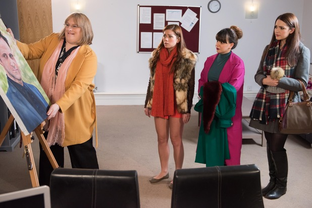 Hollyoaks, Maxine freaks out at Patrick's portrait, Tue 2 Feb