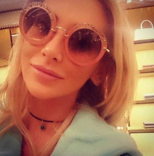 Stephanie Pratt models new pink glitter sunnies and prays for sun, 27 January 2016