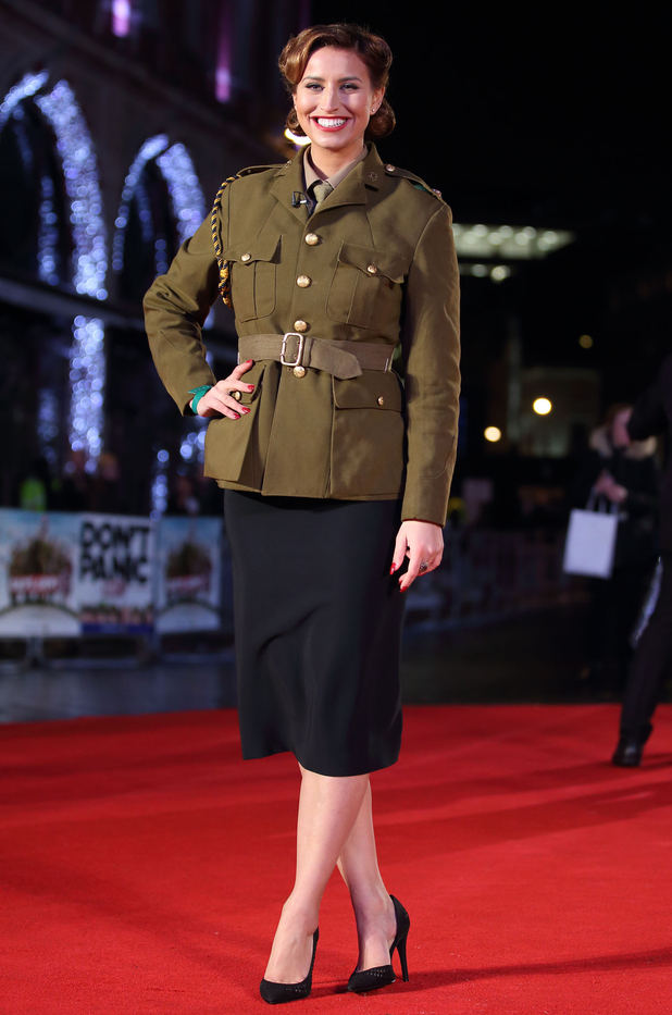 Ferne McCann attends the 'Dad's Army' World Premiere at Odeon Leicester Square in London, England on January 26, 2016