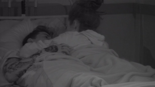 CBB: Steph & Jeremy in bed following a heart-to-heart. 27 January 2016.