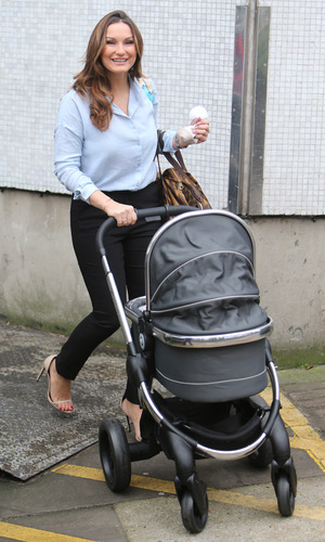 Sam Faiers outside ITV Studios with her baby son Paul Tony Knightley, 4th February 2016
