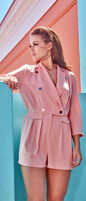 TOWIE star Chloe Lewis unveils her first ever fashion collection for Little Mistress, wearing pink playsuit 4th February 2016