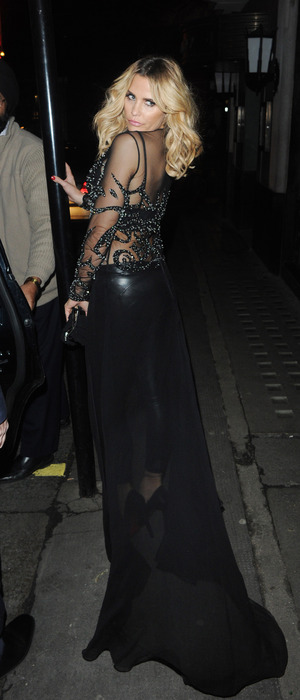 Katie Price wears sheer dress to dinner at the Ivy Club in London, 1st February 2016
