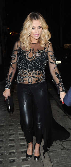 Katie Price wears sheer, embellished dress to dinner with Kieran Hayler at the Ivy Club in London, 1st February 2016