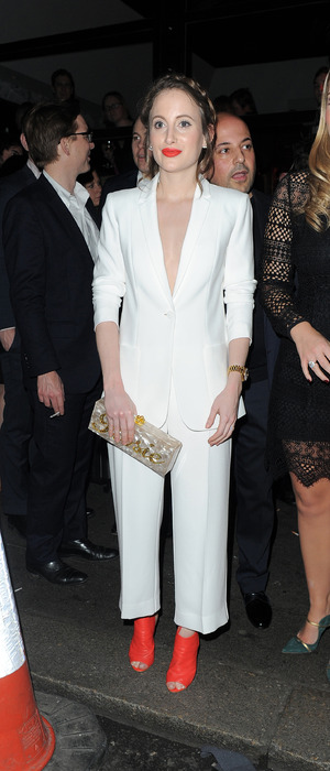 Made In Chelsea star Rosie Fortescue wears all-white suit to the Instyle Rising Star Awards BAFTAs party in London, 4th February 2016