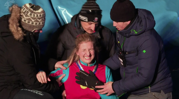 Rebecca Adlington fall on The Jump, Channel 4 31 January