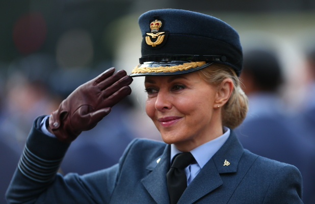 Carol Vorderman attends a service to commemorate the 75th anniversary of the formation of the Air Training Corps at St. Clemens Danes Church, the RAF church, in central London, 7 February 2016.
