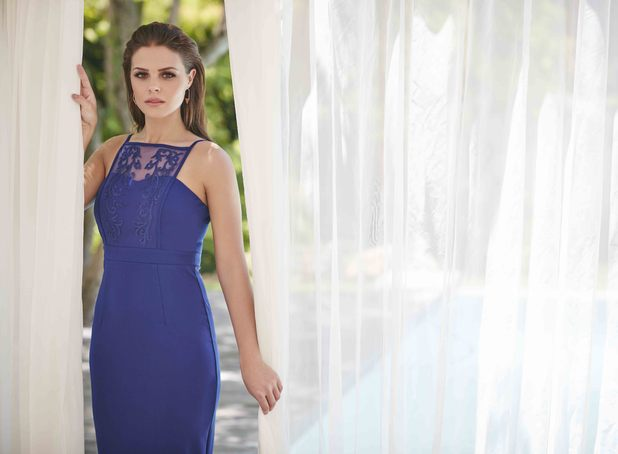 TOWIE star Chloe Lewis unveils her first ever fashion collection for Little Mistress, wearing cobalt blue coloured dress 4th February 2016