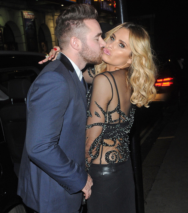 Katie Price and Kieran Hayler steal a kiss outside the Ivy Club in London, 1st February 2016