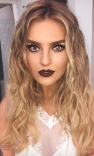 Little Mix's Perrie Edwards shows off chocolate lips in make-up selfie on Instagram, London 9th February 2016