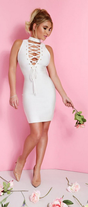 TOWIE star Billie Faiers launches spring collection with In The Style, white bodycon dress £37.99, 9th February 2016