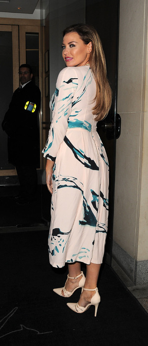 TOWIE's Jess Wright in floral dress outside Nobu restaurant in London's Mayfair, 10th February 2016