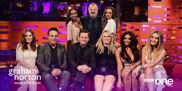 Little Mix appear on the Graham Norton Show, 12 February 2016.