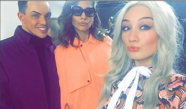 Amreen and Bethan from BNTM with Bobby Norris for Zoolander shoot 10th February 2016