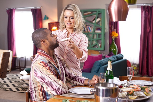 Hollyoaks, Joanne and Louis have oysters, Fri 12 Feb