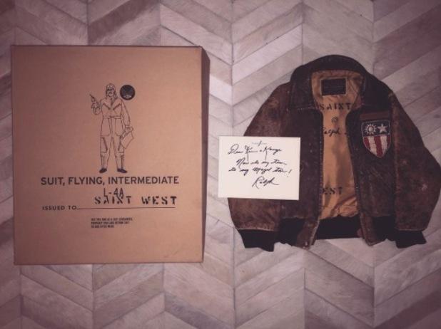 Kim Kardashian takes to Instagram to show off Saint West's new Ralph Lauren jacket, 9th February 2016