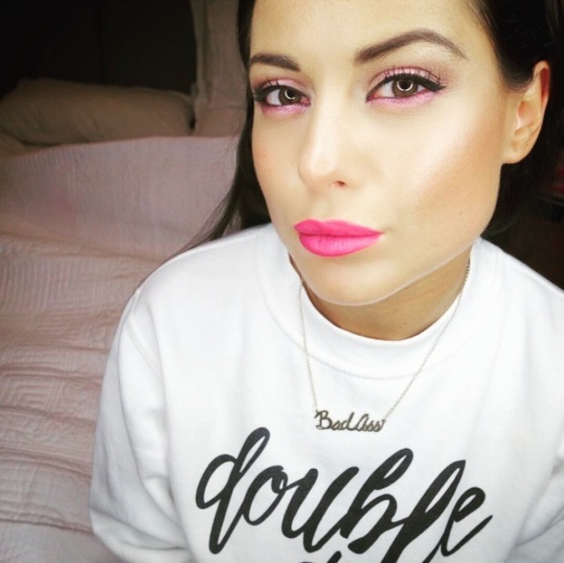 Made In Chelsea's Louise Thompson shows off her pink eye shadow look on Instagram 9th February 2016