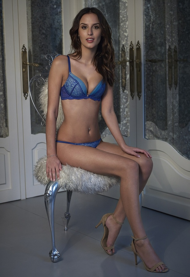 Made In Chelsea's Lucy Watson strips down to bra and knickers for Boux Avenue shoot, wearing JODIE set, 11th February 2016