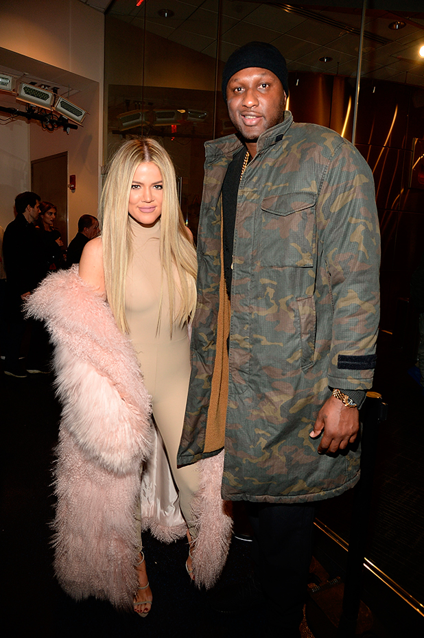 Lamar Odom and Khloe Kardashian attend Kanye West Yeezy Season 3 at Madison Square Garden on February 11, 2016 in New York City. (Photo by Kevin Mazur/Getty Images for Yeezy Season 3)
