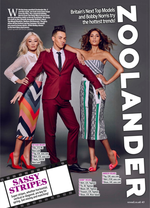 Bobby Norris and Britain's Next Top Model contestants  Zoolander shoot 10th February 2015