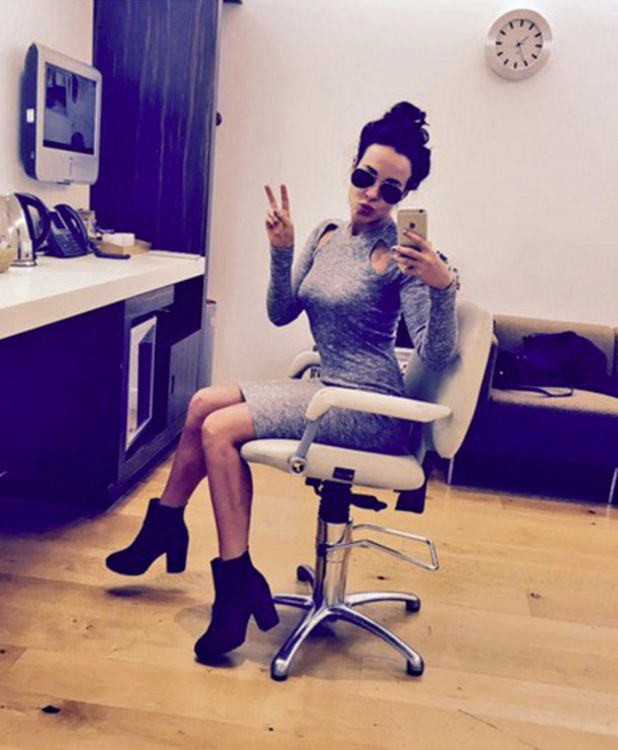 Stephanie Davis gets ready for her appearance on ITV's Loose Women 9 February 2016