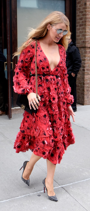 Blake Lively pictured leaving her hotel in Manhattan, New York wearing red dress, 18th February 2016