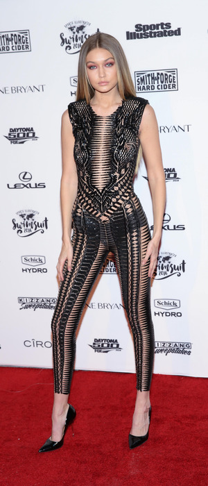 Gigi Hadid in see-through jumpsuit at the Illustrated Swimsuit Event in New York, 17th February 2016