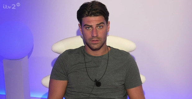 Jonathan Clark wired up to a lie detector on 'Love Island'. Broadcast on ITV2 HD. July 2015.