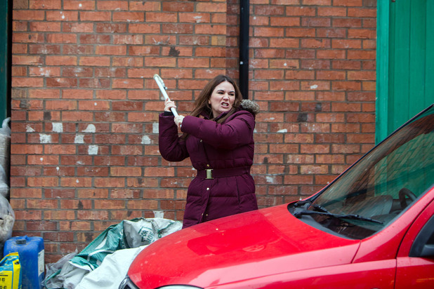 Corrie, Anna smashes up Phelan's car, Fri 19 Feb