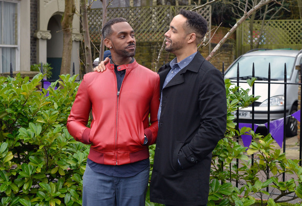 EastEnders - Linford arrives in the Square - seen with Vincent. Transmission date: 23 February 2016.