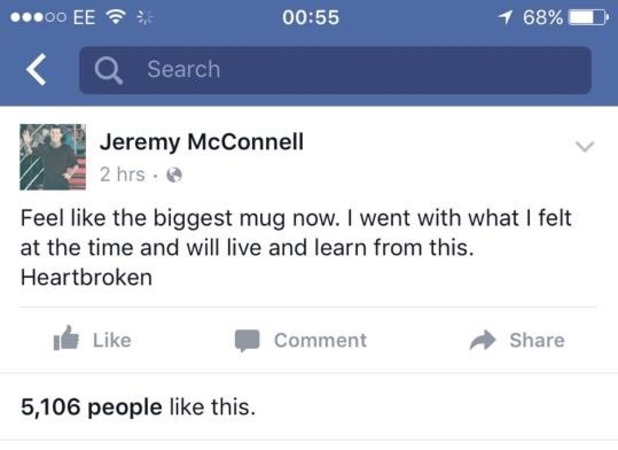 Jeremy McConnell posts cryptic message on Facebook, 20 February 2016.