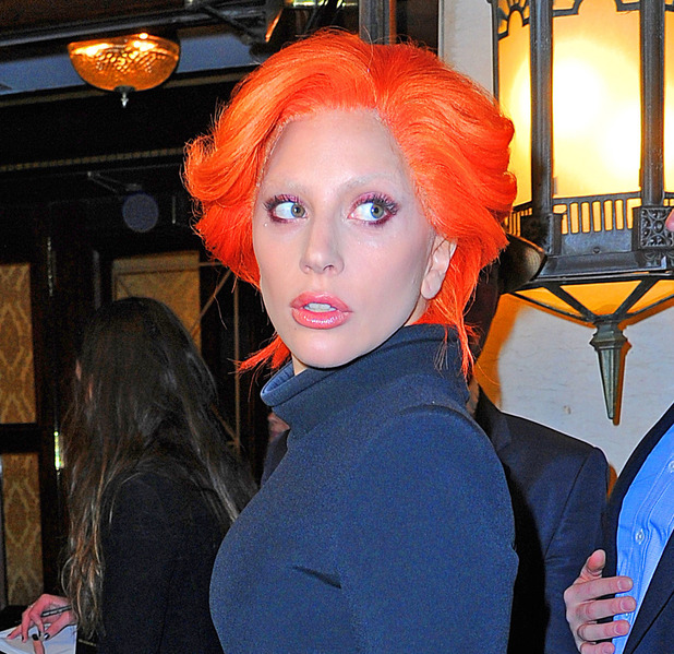 Lady Gaga steps out at the Brandon Maxwell show with bright orange hair, New York, 17th February 2016