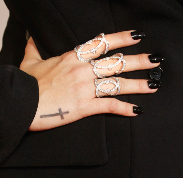 Demi Lovato chooses Red Carpet Manicure for black nail look at the Grammy Awards (Grammys) in Los Angeles, 16th February 2016