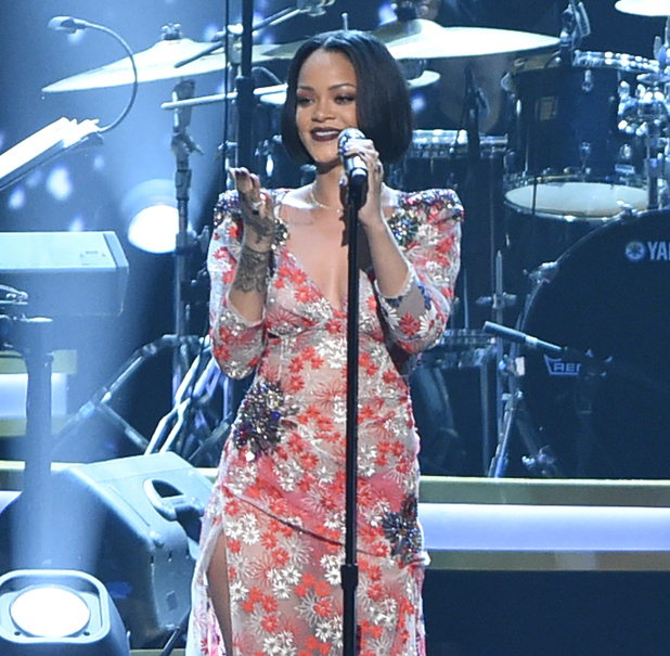 Rihanna performs onstage at the 2016 MusiCares Person of the Year honoring Lionel Richie at the Los Angeles Convention Center on February 13, 2016 in Los Angeles, California.