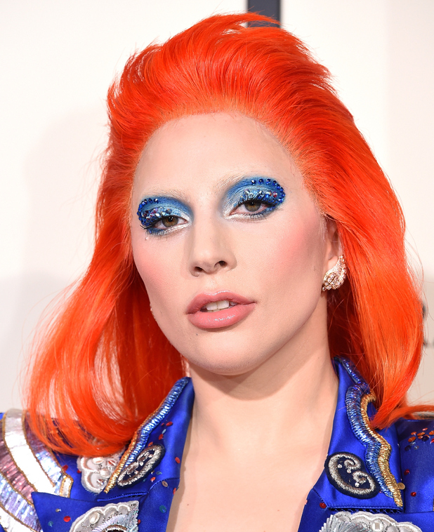 Lady Gaga does bright red hair for her Grammys David Bowie tribute - Beauty News - Reveal