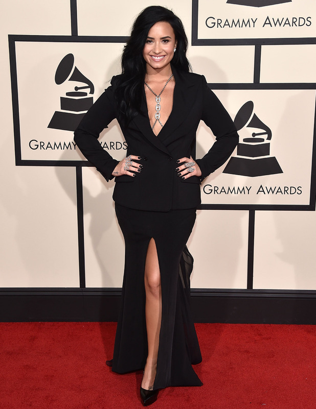 Demi Lovato on the red carpet at the Grammy Awards in Los Angeles, 16th February 2016