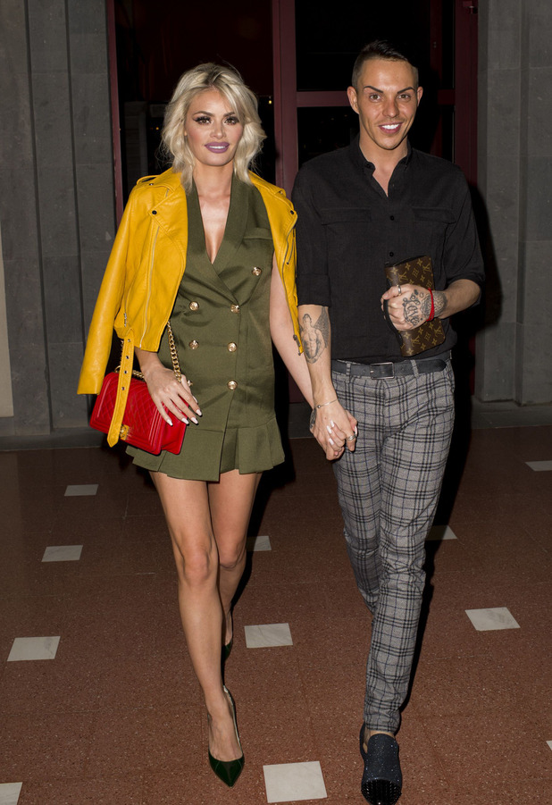 TOWIE stars Chloe Sims and Bobby Norris attend dinner in Gran Canaria where the cast are filming the 17th series, 16th February 2016