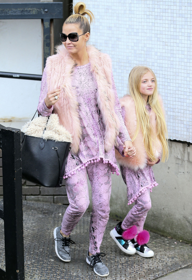 Katie Price and daughter Princess Andre look cute in matching pink co-ordinates, ITV Studios, London, 19th February 2016