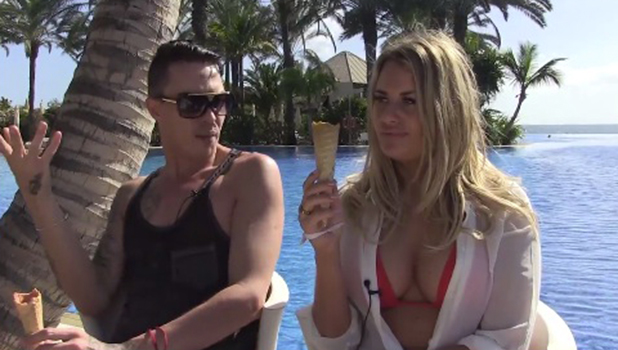 Danielle Armstrong and Bobby Cole Norris talk to TOWIE Twitter account in Gran Canaria 19 February 2016