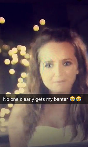 Gina Barrett Ex On The Beach Snapchat about next episode 19 Feb 2016