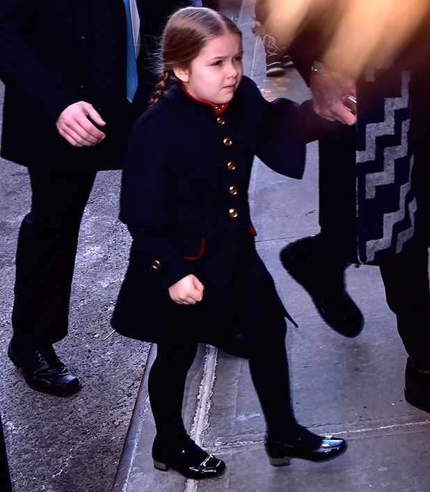 Harper Beckham arrives to Balthazar on February 14, 2016 in New York City. (Photo by James Devaney/GC Images)